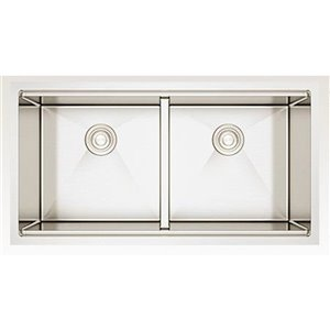 American Imaginations 19-in x 36-in Stainless Steel Double Equal Bowl Drop-In Residential Kitchen Sink