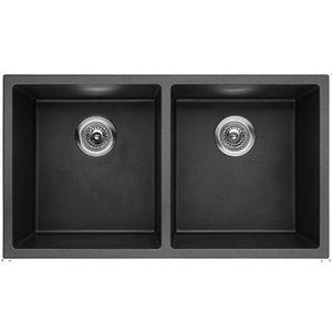 Évier de cuisine double encastré tendance de American Imaginations, 32 po x 18 po,  calibre 16, composite de granit noir