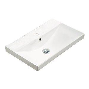Dessus de meuble-lavabo tendance American Imaginations, monotrou, argile réfractaire, 15,51 po x 23,86 po, blanc