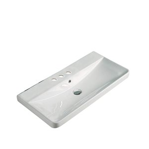 Dessus de meuble-lavabo tendance American Imaginations, petit robinet 4po, argile réfractaire, 15,55 po x 31,89 po, blanc