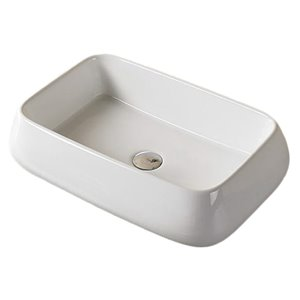 American Imaginations White Vessel Rectangular Bathroom Sink - Chrome Hardware - 16.14-in