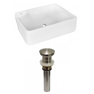 American Imaginations White Vessel Rectangular Bathroom Sink - Nickel Hardware - 13-in
