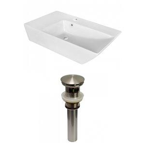 American Imaginations White Vessel Rectangular Bathroom Sink - Nickel Hardware - 15.5-in - Overflow Included