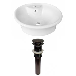 American Imaginations White Vessel Round Bathroom Sink - Bronze Hardware - 15.5-in - Overflow Included