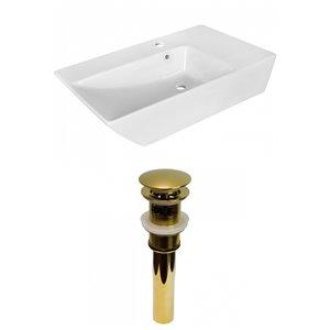 Lavabo stylé de salle de bain vasque rectangulaire de American Imaginations, 15,5 po, quincaillerie dorée