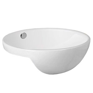 American Imaginations Modern White Drop-In Or Undermount Round Bathroom Sink - Chrome Hardware - 17.1-in - Overflow Included