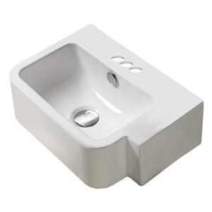 American Imaginations White Vessel Rectangular Bathroom Sink - Chrome Hardware - 12.6-in - Overflow Included