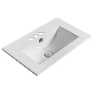 Dessus de meuble-lavabo American Imaginations, petit robinet 4po, argile réfractaire, 16,6 po x 19,9 po, blanc