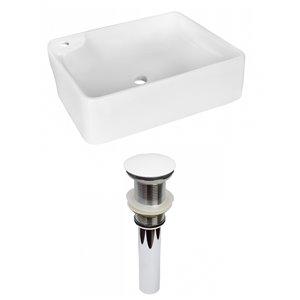 American Imaginations White Vessel Rectangular Bathroom Sink - White Hardware - 13-in