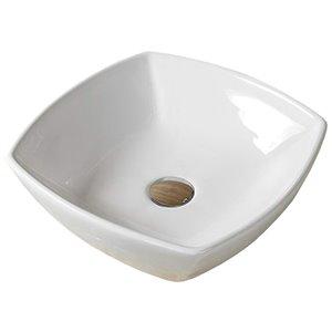 American Imaginations Stylish White Vessel Square Bathroom Sink - Chrome Hardware - 16.5-in