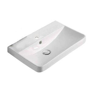 Dessus de meuble-lavabo American Imaginations, monotrou, argile réfractaire, 13,98 po x 19,88 po, blanc