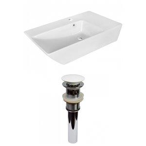 Lavabo stylé de salle de bain vasque rectangulaire de American Imaginations, 15,5 po, quincaillerie blanc poli