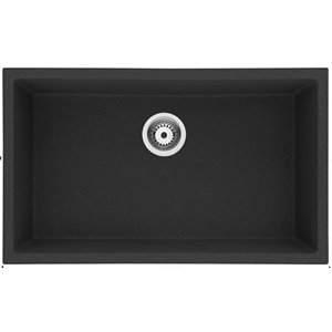 American Imaginations 18-in x 30-in Black Granite Composite Single Bowl Drop-In Residential Kitchen Sink