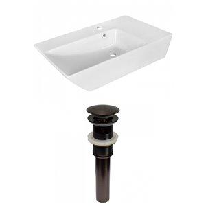 Lavabo moderne de salle de bain vasque rectangulaire de American Imaginations, 15,5 po, quincaillerie bronze poli