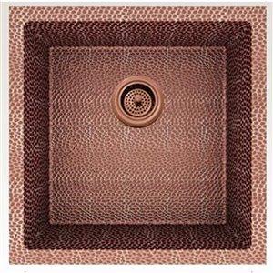 Évier de cuisine bol simple encastré transitionnel de American Imaginations, 17 po x 17 po,  calibre 16, cuivre rose