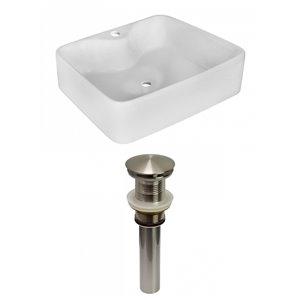 Lavabo de salle de bain vasque rectangulaire de American Imaginations, 14,75 po, quincaillerie nickel poli