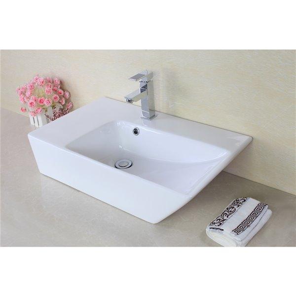 Lavabo de salle de bain vasque rectangulaire de American Imaginations, 15,5 po, quincaillerie noir poli