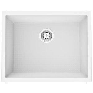 Évier de cuisine bol simple encastré de American Imaginations, 23 po x 18 po,  calibre 16, composite de granit blanc