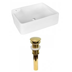 Lavabo de salle de bain vasque rectangulaire de American Imaginations, 13 po, quincaillerie dorée