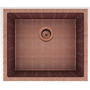 American Imaginations 18-in x 21-in Transitional Rose Copper Single Bowl Drop-In Residential Kitchen Sink