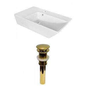 Lavabo de salle de bain vasque rectangulaire de American Imaginations, 15,5 po, quincaillerie dorée