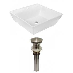 Lavabo de salle de bain vasque carré de American Imaginations, 16,5 po, quincaillerie nickel poli