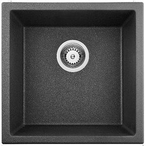 Évier de cuisine bol simple encastré stylé de American Imaginations, 17 po x 17 po,  calibre 16, composite de granit noir