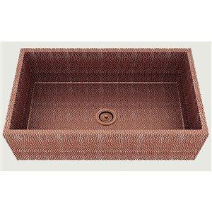 Évier de cuisine bol simple encastré transitionnel de American Imaginations, 33 po x 19 po,  calibre 16, cuivre rose