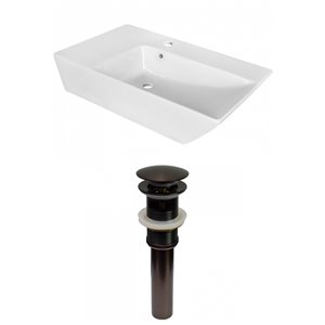 Lavabo de salle de bain vasque rectangulaire de American Imaginations, 15,5 po, quincaillerie bronze poli