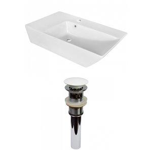 Lavabo de salle de bain vasque rectangulaire de American Imaginations, 15,5 po, quincaillerie blanc poli