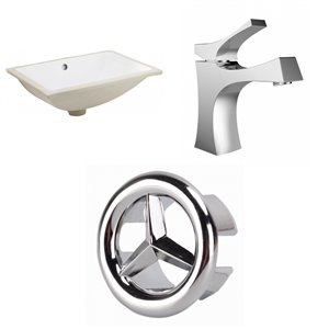 American Imaginations White Undermount Rectangular Bathroom Sink - Chrome Hardware - 14.35-in - Overflow Included