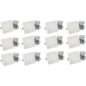 Lumières carrées semi-encastrées de 4 po de American Imaginations, aluminium, blanc, 12 mcx