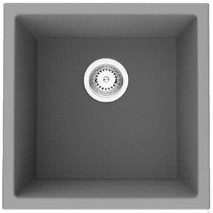 Évier de cuisine bol simple encastré transitionnel American Imaginations, 17 po x 17 po,  calibre 16, composite de granit noir