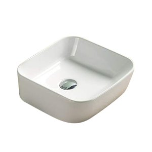 American Imaginations White Vessel Rectangular Bathroom Sink - Chrome Hardware - 13.86-in