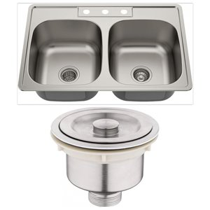 American Imaginations 22-in x 33-in Modern Brushed Nickel Double Equal Bowl Drop-In Residential Kitchen Sink
