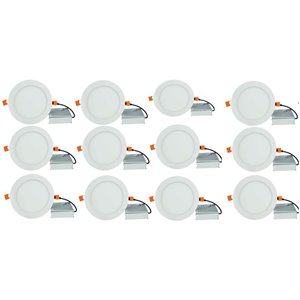 Lumières rondes semi-encastrées de 6 po de American Imaginations, aluminium, blanc, 12 mcx