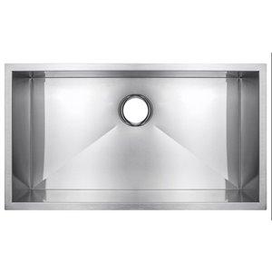 American Imaginations 18-in x 27-in Elegant Brushed Nickel Single Bowl Drop-In Residential Kitchen Sink