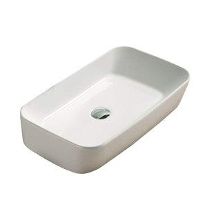 American Imaginations White Vessel Rectangular Bathroom Sink - Chrome Hardware - 13.58-in
