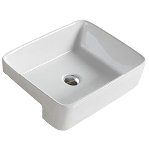 American Imaginations White Drop-In Or Undermount Rectangular Bathroom Sink - Chrome Hardware - 13.4-in - Overflow Included