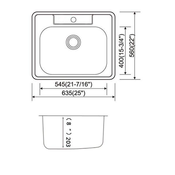 Évier de lessive encastré de American Imaginations, 25 po x 22 po, calibre 20, nickel brossé