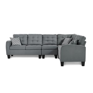 Mazin Industries Sinclair Modern Gray Polyester Sectional
