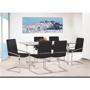 Ensemble de salle à manger Crystalle de Mazin Industries, rectangulaire, clair/noir, 7 pièces