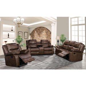 Mazin Industries Klaus Contemporary Microfibre Living Room Set - Antique Brown - 3-Piece