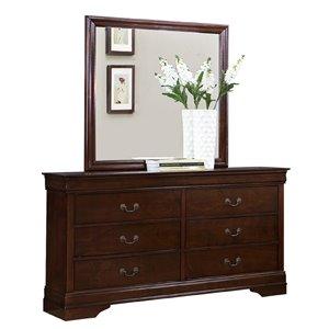 Commode avec miroir Mayville de HomeTrend, 6 tiroirs, cerisier