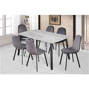 Ensemble de salle à manger Grigio de Mazin Industries, rectangulaire, gris, 5 pièces