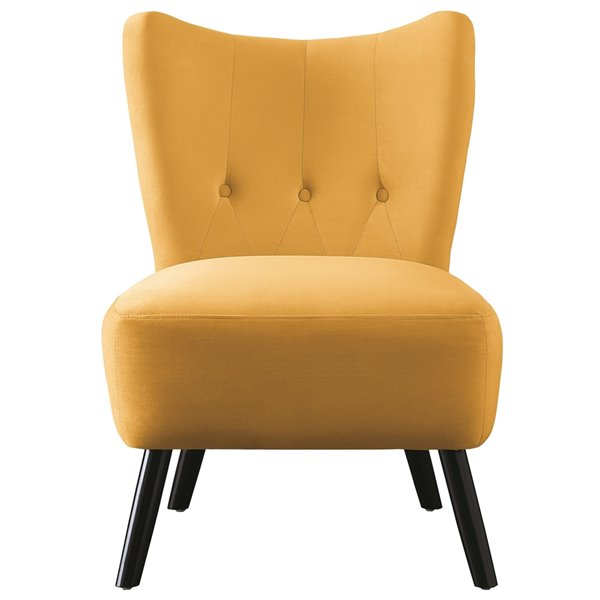 HomeTrend Imani Modern Velvet Slipper Chair - Bold Yellow