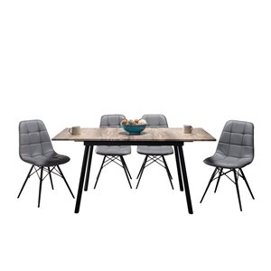 Mazin Industries Athene Dining Set with Rectangular Table - Gray - 5-Piece