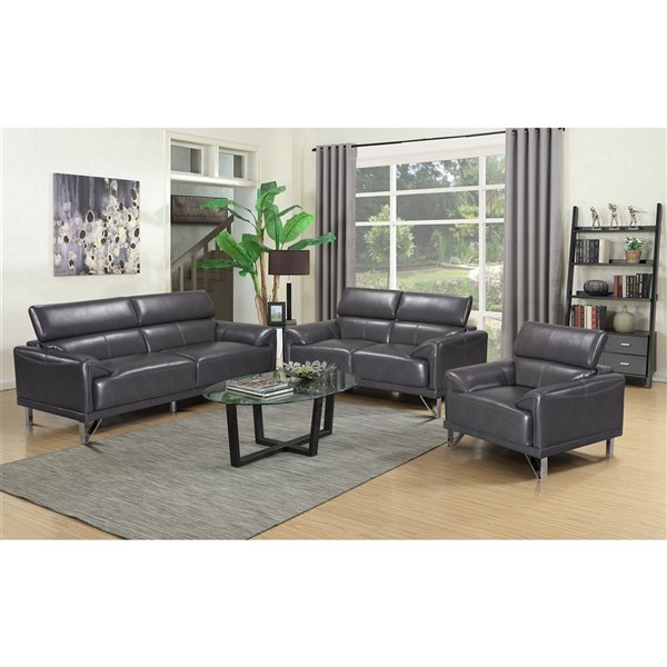Hometrend Sonya Contemporary Faux, Faux Leather Living Room Set