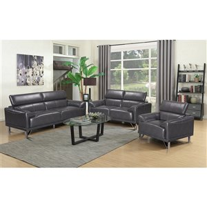 Mazin Industries Sonya Contemporary Faux Leather Living Room Set - Gray - 3-Piece