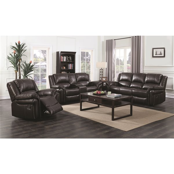 Mazin Industries Cora Contemporary Faux, Faux Leather Living Room Set